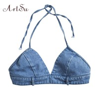 ArtSu Blue Denim Cropped Sleeveless Backless Club Streetwear Halter Tank Top Fitness Women Bralette Crop Top ASVE20123