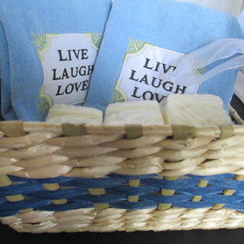 Ladies Live, Laugh, Love Gift Set Deluxe Basket, two towels, 6 Cala Lily rectangular soaps lily scented, mitt washcloth for holding soap