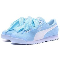 "Hot Sale ""PUMA"" Roma TK Graphic Popular Women Comfortable Bow Running Sport Shoes Sneakers Light Blue I/A"
