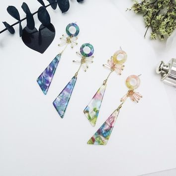 New Fashion Long Color Acrylic Triangle Earrings Geometric Bead Stud Earrings