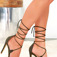 Good Thing Going Green Suede Lace-Up Heels