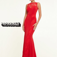 High Neck Lace And Jersey Floor Length Paparazzi Prom Dress By Mori Lee 97136