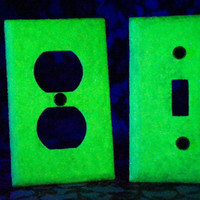 Set Of GLOW in the DARK Glitter Swichplate / Outlet Covers
