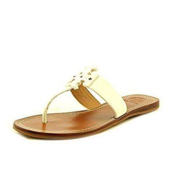 Tory Burch Ivory Leather Moore Flat Thong Sandal 9.5