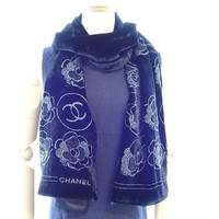 Auth CHANEL Camellia Coco Mark Stole Black Rayon Silk Scarf /040833 FREE SHIP
