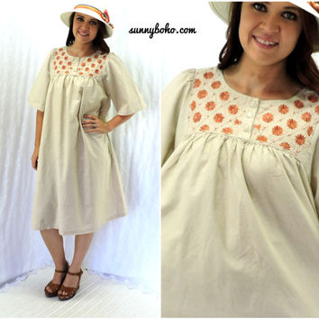 Indie embroidered patio dress S / M beige cotton smock dress boho tunic dress smocked cotton muu muu dress SunnyBohoVintage