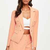 Missguided - Peach Military Tailored Blazer