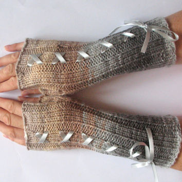 Corset Fingerless Gloves Mittens Beige Brown Gray Arm Warmers Acrylic