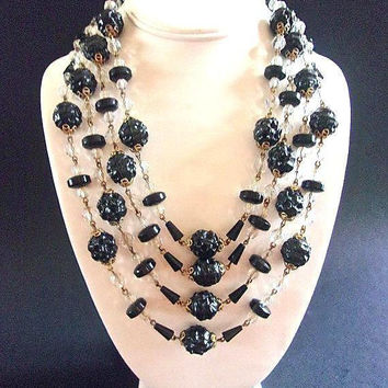 HATTIE CARNEGIE Unsigned Black Necklace 4 Multi Strand Molded Beads Crystals Vintage