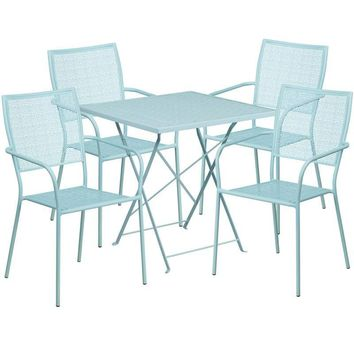 28'' Square Indoor-Outdoor Steel Folding Patio Table Set with 4 Square Back Chairs