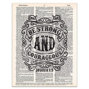 Joshua 1:9, Be Strong and Courageous, Christian Wall Art, Bible Verse, Rustic Decor, Dictionary Page, 8x11 UNFRAMED