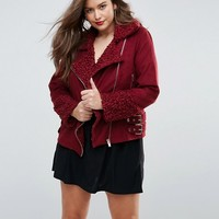 Missguided Plus Shearling Borg Aviator Jacket at asos.com