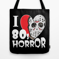 I Heart 80s Horror Tote Bag by JARHUMOR