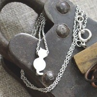 White Gold Cat Necklace