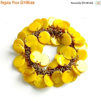 SALE Vintage Cha Cha Bracelet, Bright Yellow Bracelet, Dyed Mother of Pearl Charm Bracelet.