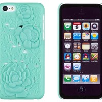 DandyCase Mint Green Rose Flower 3D Design Slim Fit Hard Case for Apple iPhone 5C - Includes DandyCase Keychain Screen Cleaner