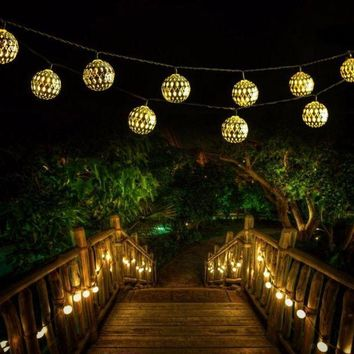 PEAPUNT Outdoor Solar LED Moroccan String Light 30 LED Xmas Waterproof Warm White String Lights Party Festival Decoration Lighting
