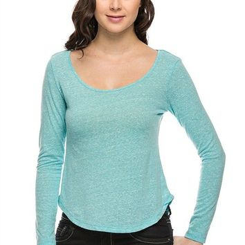 Solid Basic Melange Scoop Neck Long Sleeve Cropped Round Hem Tee Shirt Top