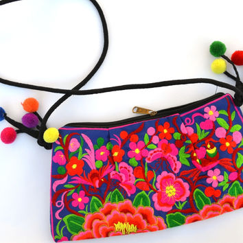 Birds, Butterflies, and Peonies: Embroidered Shoulder Bag with Tassels