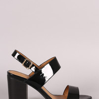Liliana Two Band Slingback Chunky Stacked Heel