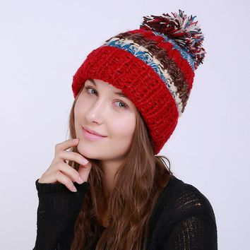 2017 Women Warm Winter Thick Oversized Cable Pom Pom Beanie Knit Wool Hat Casual Adult Girl Lady Hat Headwear New Fashion