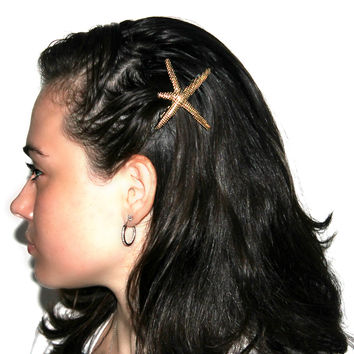 """""""Wishing on a Starfish"""" Matte Gold Hair Clip"""