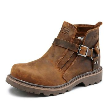 Z.Suo 2017 Best Quality Genuine Leather Men Boots Buckle Strap Fashion Ridding Ankle Cowboy Boots Hot Sale
