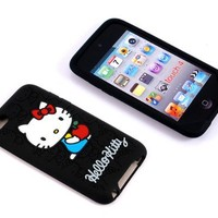 Smile Case Hello Kitty Black Silicone Full Cover Case for iPod Touch iTouch 4 4g 4th generation (it-HK Black2)