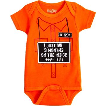 I Just Did 9 Months on the Inside Baby Bodysuit Onesuit by Sara Kety