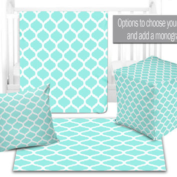 BABY NURSERY DECOR, Quatrefoil Aqua Baby Blanket, Ottoman Pouf, Zipper Throw Pillow, Baby Monogram, Matching Nursery Bedding, Nursery Rug
