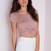 Missguided - Knot Front Capped Sleeve Crop Top Mauve