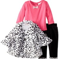 Little Lass Baby-Girls Newborn 3 Piece Animal Printed Faux Fur Jacket Set, Black, 3-6 Months