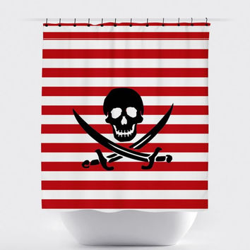 Red/White Stripe Pirate Shower Curtain