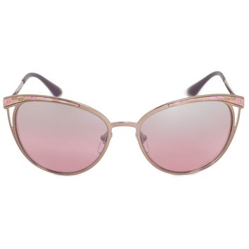 Bvlgari Cat Eye Sunglasses BV6083 20217E 56 | Silver Metal Frame | Pink Mirror Lenses
