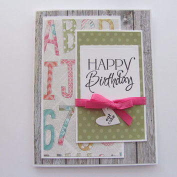 Happy Birthday Card, Birthdays, Eat Cake Heart Tag, Multi Colored, Alphabet and Numbers