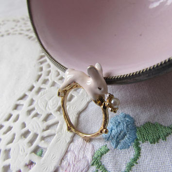 Vintage White Rabbit and Pearl porcelain ring on an 18k Gold plated branch twig textured ring, Rabbit on a branch ring