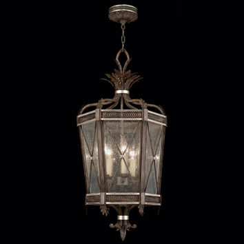 Fine Art Lamps 809440ST Villa Vista Five-Light Lantern in Hand Painted Driftwood Finish On Metal with Silver Leafed Accents