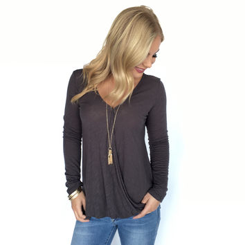 Top Of The World Wrap Top In Charcoal Grey