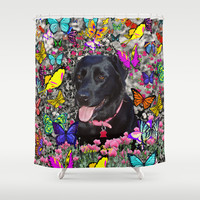 Abby in Butterflies - Black Labrador Dog Shower Curtain by Diane Clancy's Art