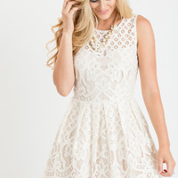 Scarlette Cream Fit and Flare Lace Dress