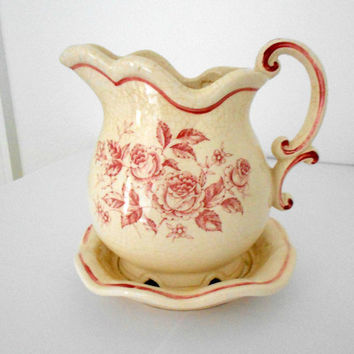 Red Planter Cream Pitcher Porcelain Vase Made in Japan