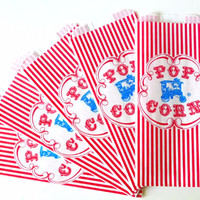 100 Carnival Birthday Retro Popcorn Bags Carnival Party- Blue Wagon & Red Stripe Circus Party Birthday, Wedding
