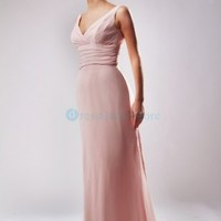 Sexy V Neck Ruched Chiffon Pink Evening Dress : dressoutletstore.co.uk, Wedding Dresses Outlet