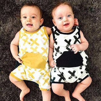 Newborn Baby Boys Printed Sleeveless Romper Jumpsuit Summer Kids Leisure Outfits Playsuit Fashion Infant Toddler Clothes