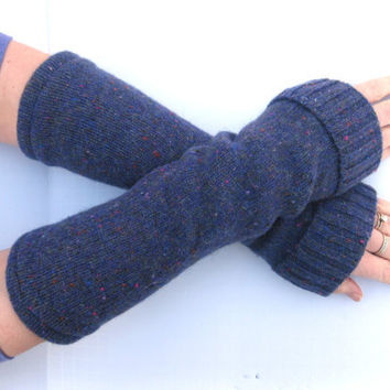 Wool Fingerless Gloves Purple Texting Gloves by SewEcological
