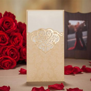 50PCS Gold /Red Hollow Laser Cut Wedding Invitations Card Personalized Custom Printable Birthday Wedding Event & Party Supplies