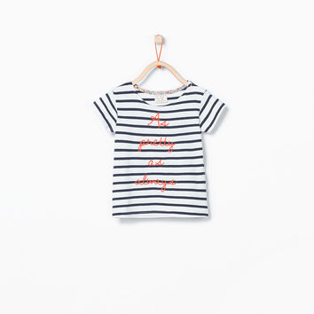 ORGANIC COTTON STRIPES AND TEXT T-SHIRT