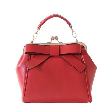 New fashion candy-color girls cute bow handbag PU leather stereotypes doctor bag brand designer women shoulde messenger bag