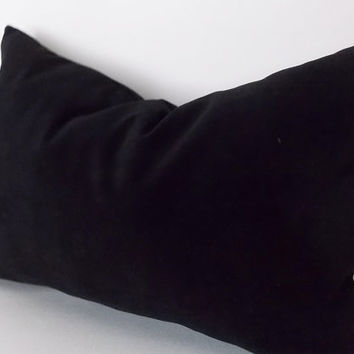 Velvet Cotton Black Lumbar Pillow Cover, Decorative Pillow, Throw Black Pillow, All Size