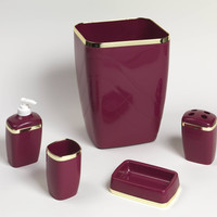 Royal Bath 5-Piece Plastic Bath Accessory Set (Burgundy/Gold)